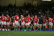 Dejected Welsh players leave the field after their defeat. Invesco Perpetual series 2008 autumn international match, Wales v New Zealand at the Millennium Stadium on Sat 22nd Nov 2008. pic by Andrew Orchard, Andrew Orchard sports photography,