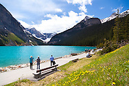 The Icefields Parkway stretches 230 km (142 miles) between Lake Louise and the town of Jasper and travels through the heart of the Canadian Rockies.  The highway parallels the Main Ranges of the Canadian Rockies within Banff and Jasper National Parks.  The peaks of the mountains visible from the highway can reach an altitude of 3300 meters (11,000 feet).  Many glacially fed streams and lakes can be seen and visited along the way.  Pictured here is Lake Louise, a glacial lake located in Banff National Park.  The lake is named after Princess Louise Caroline Alberta, the fourth daughter of Queen Victoria.  The emerald color of the water comes from rock flour carried into the lake by melt-water from the glaciers that overlook the lake.