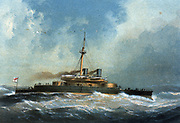 'HMS ''Devastation'', the first of two Devastation-class mastless turret ships  built in the Naval Dockyard, Portsmouth. Commissioned in 1873, she was scrapped in 1908.  Chromolithograph 1872.'