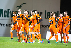 Dundee United's Tony Andreu celebrates after scoring their second goal. Dundee United 3 v 0 Raith Rovers, Scottish Championship game played 4/2/2017 at Dundee United's stadium Tannadice Park.