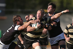Nico Scheepers of Boland attempts to get past Andre Esterhuizen of the Sharks and Ruan Botha of the Sharks during the Currie Cup premier division match between the Boland Cavaliers and The Sharks  held at Boland Stadium, Wellington, South Africa on the 19th August 2016<br /> <br /> Photo by:   Shaun Roy/ Real Time Images