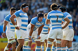 Argentina players huddle together during a break in play - Mandatory byline: Patrick Khachfe/JMP - 07966 386802 - 04/10/2015 - RUGBY UNION - Leicester City Stadium - Leicester, England - Argentina v Tonga - Rugby World Cup 2015 Pool C.