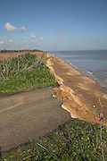 Rapid coastal erosion, end of the road at Covehithe, Suffolk, England