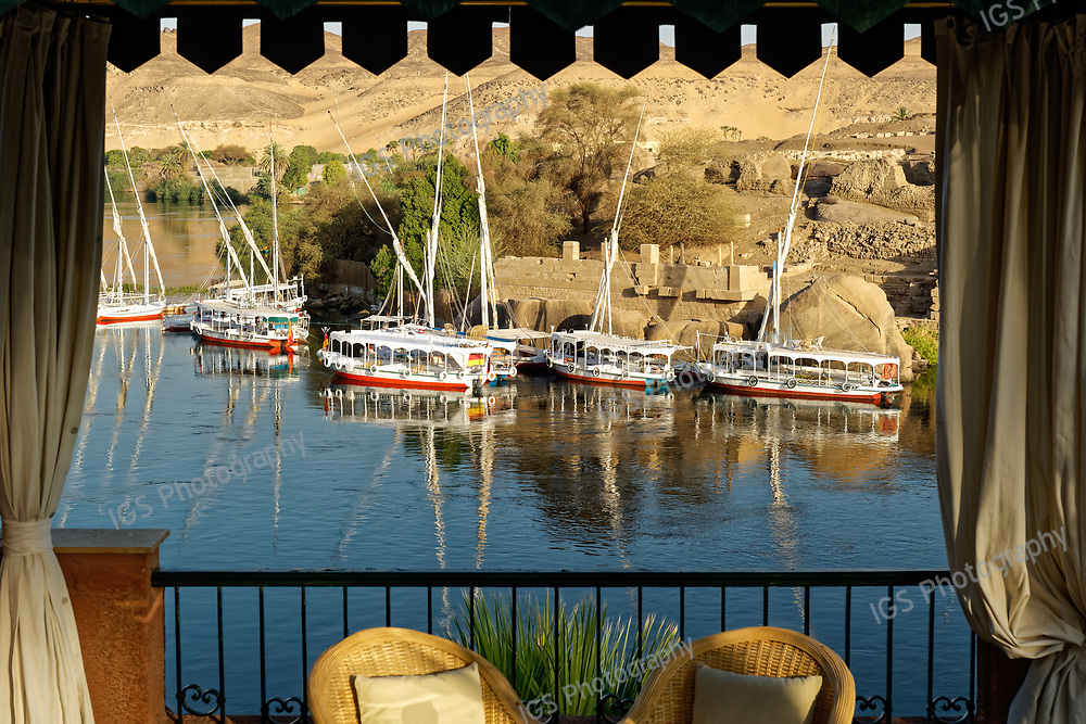 Looking out over the River Nile at Elephantine Island from the historic Old Cataract Hotel in Aswan