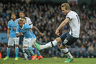 Harry Kane (Tottenham Hotspur) takes the penalty to give Spurs a 1-0 lead during the Barclays Premier League match between Manchester City and Tottenham Hotspur at the Etihad Stadium, Manchester, England on 14 February 2016. Photo by Mark P Doherty.
