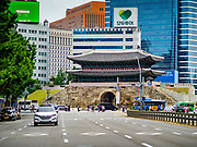 10 JUNE 2018 - SEOUL, SOUTH KOREA:  Seoul's south gate at the end of Sejong-daero from Deoksugung Palace. The gate has been the south entry into Seoul since the 1400s.   PHOTO BY JACK KURTZ