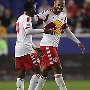 Thierry Henry, New York Red Bulls, talks with team mate Lloyd Sam, (left), during the New York Red Bulls Vs Toronto FC, Major League Soccer regular season match at Red Bull Arena, Harrison, New Jersey. USA. 11th October 2014. Photo Tim Clayton