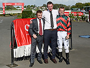 L-R: Trainers Lance O'Sullivan, Andrew Scott and Jockey Craig Grylls.<br /> Winner of Race 9, Vodafone NZ Derby (G1) 2400.<br /> Vodafone Derby Day at Ellerslie Race Course, Auckland on Sunday 7th March 2021 during lockdown level 2.<br /> Copyright photo: Alan Lee / www.photosport.nz