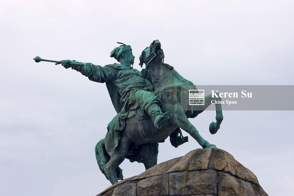Equestrian statue in front of Saint Sophia Cathedral, Kiev, Ukraine, Europe