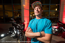 Custom bike builder Jesse Rooke at the Indian new bike reveal party at the Hilton Hotel during Daytona Bike Week. Daytona Beach, FL, USA. Friday March 10, 2017. Photography ©2017 Michael Lichter.
