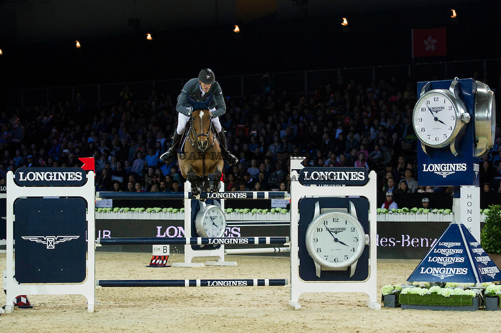 Kevin Staut on For Joy van't Zorgvliet HDC competes during Longines Grand Prix at the Longines Masters of Hong Kong on 21 February 2016 at the Asia World Expo in Hong Kong, China. Photo by Juan Manuel Serrano / Power Sport Images