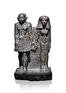 Ancient Egyptian bust of a man and women, serpentine, Middle Kingdom, late 12th-13th Dynasty (1800-1700 BC). Egyptian Museum, Turin. white background,<br /> <br /> An example of Egyptian private statues, probably low ranking officials, inv 1222 &1233 .<br /> <br /> If you prefer to buy from our ALAMY PHOTO LIBRARY  Collection visit : https://www.alamy.com/portfolio/paul-williams-funkystock/ancient-egyptian-art-artefacts.html  . Type -   Turin   - into the LOWER SEARCH WITHIN GALLERY box. Refine search by adding background colour, subject etc<br /> <br /> Visit our ANCIENT WORLD PHOTO COLLECTIONS for more photos to download or buy as wall art prints https://funkystock.photoshelter.com/gallery-collection/Ancient-World-Art-Antiquities-Historic-Sites-Pictures-Images-of/C00006u26yqSkDOM