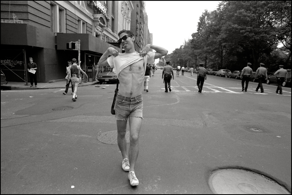 Walter Armstrong of ACT UP marches in the Gay Pride Parade in New York City in June, 1990.