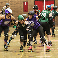 Manchester Roller Derby's Checkerbroads take on Team Crazy Legs from Leeds at George H Carnall Leisure Centre, Urmston, 2015-04-11