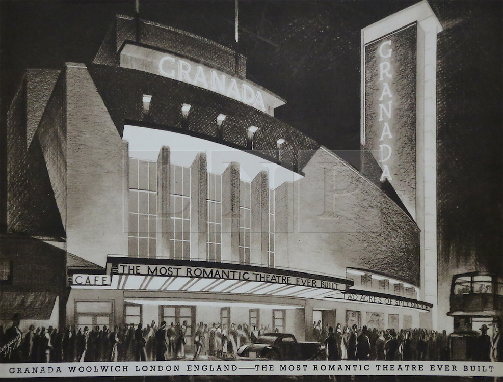 © Licensed to London News Pictures. 10/10/2013. A Grade-II listed former theatre in Woolwich is being restored to its former glory by a London based church. This photo of the building's exterior comes from a promotional brochure produced at the time of its opening in 1937. Photo used with permission of Greenwich Heritage Centre. More copy at: http://www.greenwich.co.uk/woolwichgranada.txt  Credit : Rob Powell/LNP