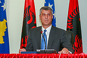 Kosovo's Prime Minister Hashim Thaçi speaks during a conference of Kosovo-Albania bilateral agreements with Albania's Prime Minister Sali Berisha in Pristina, on Monday, October 6, 2009. <br /> This is his first visit to Kosovo, since Kosovo's declaration of independence. (Photo/ Vudi Xhymshiti)