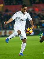 Football - 2016 / 2017 Premier League - Swansea City vs. Leicester City<br /> <br /> Wayne Routledge of Swansea on the ball, at The Liberty Stadium.<br /> <br /> COLORSPORT/WINSTON BYNOTH