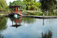 Liliuokalani Park and Gardens is a park with Asian gardens in along Hilo Bay. .The park's site was given by Queen Liliuokalani. Much of the park now consists of Edo style Japanese gardens built in the early 1900, and said to be the largest such gardens outside Japan. The gardens contain Waihonu Pond as well as bridges, koi ponds, pagodas, statues, torii and a Japanese teahouse