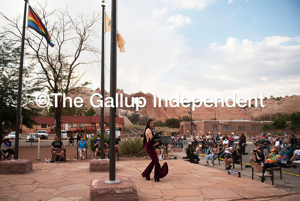 Nova Gina Martini performs as Selena in front of the Navajo Nation Council Chambers as part of Diné Pride Saturday, June 19, in Window Rock.