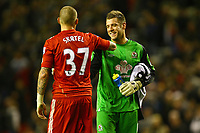 Football - Premier League - Liverpool vs. Blackburn Rovers<br /> Martin Skrtel of Liverpool congratulates Mark Bunn of Blackburn Rovers on an excellent game in goal at Anfield