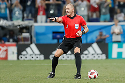 July 1, 2018 - Nizhny Novgorod, Russia - The referee Nestor Pitana gestures during the 2018 FIFA World Cup Russia Round of 16 match between Croatia and Denmark on July 1, 2018 at Nizhny Novgorod Stadium in Nizhny Novgorod, Russia. (Credit Image: © Mike Kireev/NurPhoto via ZUMA Press)