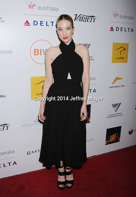 SANTA MONICA, CA- OCTOBER 26: Actress Sophie Lowe attends the 3rd Annual Australians in Film Awards Benefit Gala at the Fairmont Miramar Hotel on October 26, 2014 in Santa Monica, California.(Photo by Jeffrey Mayer/WireImage) *** Local caption *** Sophie Lowe