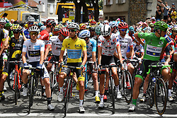 July 14, 2017 - Foix, FRANCE - Great Britain Simon Yates of Orica - Scott wearing the white jersey for the best young rider, Italian Fabio Aru of Astana Pro Time wearing the yellow jersey of overal leader, French Warren Barguil of Team Sunweb wearing the polka-dot jersey for the best climber and German Marcel Kittel of Quick-Step Floors wearing the green jersey of the points leader on the starting grid during the 13th stage of the 104th edition of the Tour de France cycling race, 101km from Saint-Girons to Foix, France, Friday 14 July 2017. This year's Tour de France takes place from July first to July 23rd. BELGA PHOTO DAVID STOCKMAN (Credit Image: © David Stockman/Belga via ZUMA Press)