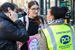 London, UK. 10th April 2019. Laura Pidcock (c), Shadow Minister for Business Energy & Industrial Strategy, joins outsourced workers belonging to the Public & Commercial Services (PCS) union standing on a picket line outside their place of work at the Government Department for Business, Energy and Industrial Strategy (BEIS) during strike action to demand a real living wage of £10.55 per hour (the Living Wage Foundation's London Living Wage) and terms and conditions comparable with civil servants who work in the same department.