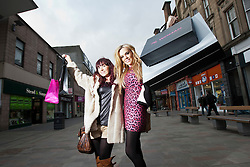 """Maria with Laura on the High Street..Filming of """"Ma Way"""", Maria Fowler""""s guide to Perth..© Michael Schofield."""