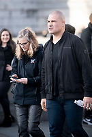 Cain Velasquez  at trafalgar square stop as  WWE Stars tour London  in an open-top bus   promotie the WWE's move to BT Sport, and