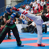 Gold medalist Shauna Bannon (L) of Ireland and silver medalist Sonja Stacher (R) of Austria fight in the 2 LC 040 S F -55 kg final at the WAKO (World Association of Kickboxing Organizations) World Kick-boxing Championships in Budapest, Hungary on Nov. 10, 2017. ATTILA VOLGYI