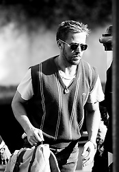 August 29, 2018 - Venice, Italy - (EDITORS NOTE: Image has been converted to black and white.) Ryan Gosling arrives at the Hotel Excelsior during the 75th Venice Film Festival, in Venice, Italy, on August 29, 2018. (Credit Image: © Matteo Chinellato/NurPhoto/ZUMA Press)