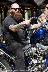 Bobby the Leg Middleton on his custom Harley-Davidson Born Free 6 build at Warren Lane's True Grit Antique Gathering bike show at the Broken Spoke Saloon in Ormond Beach during Daytona Beach Bike Week, FL. USA. Sunday, March 10, 2019. Photography ©2019 Michael Lichter.