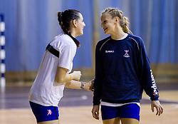 Alja Koren and Barbara Varlec Lazovic during practice session of Slovenian Women handball National Team three days before match against Serbia, on October 24, 2013 in Arena Tivoli, Ljubljana, Slovenia. (Photo by Vid Ponikvar / Sportida)
