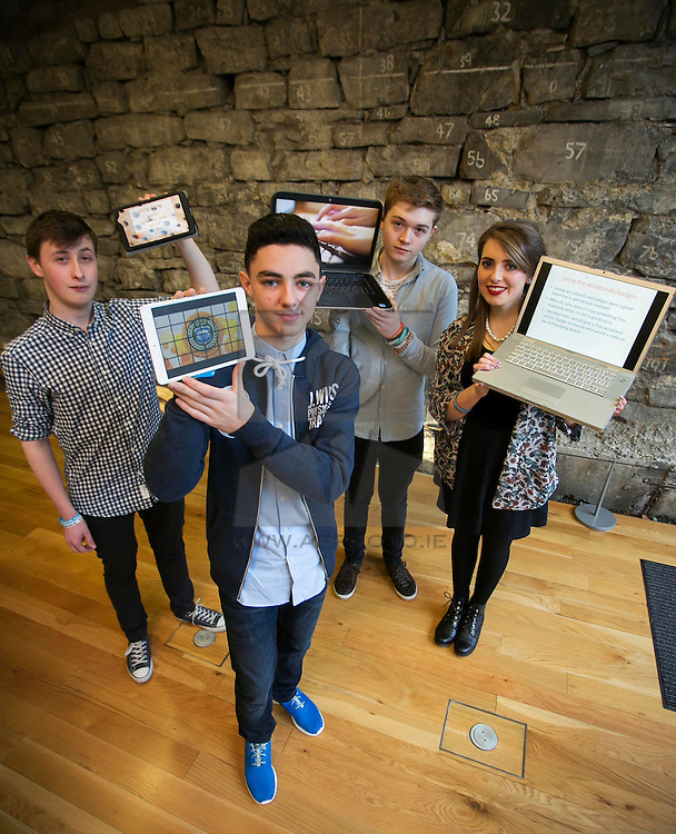 Repro Free: 10/02/2014 <br /> Thomas Mernagh from Thurlus, Emmet Farrell from Drimnagh Castle, Adam O'Dwyer from Thurlus and Lia Grogan from Thurlus are pictured showcasing their work at the launch event for Safer Internet Day 2014. A new anti-cyber bullying school's pack was unveiled at the event by Ruairi Quinn TD, Minister for Education and Skills. The #UP2US Anti-Bullying Kit contains awareness raising material, a new teaching resource for dealing with the issue of cyber bullying through the SPHE curriculum in post primary schools and an innovative interactive poster initiative. <br /> The pack will challenge young people to find new ways to use the internet and social media to stand up to bullying and show solidarity with victims. As an incentive to inspire students to use the pack, Webwise is offering the school that does the most to create a positive and inclusive culture online a live school gig with award winning singer songwriter Gavin James.<br /> <br /> Safer Internet Day is an initiative of the EU Safer Internet Programme. It is promoted in Ireland by the Webwise internet safety initiative of the Professional Development Service for Teachers (PDST). Watch Your Space is the Internet Safety initiative of the PDST.<br /> <br /> www.facebook.com/watchyourspace/ www.watchyourspace.ie / Twitter: @watchyourspace<br /> Picture Andres Poveda