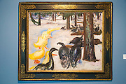 """Duck and Turkeys"" 1913 by Edvard Munch, (1863-1944), oil on canvas, Kode 4 art gallery Bergen, Norway - copyright restrictions in USA and Spain"