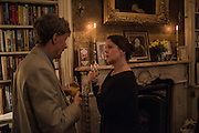 HALLAM MURRAY; VICTORIA HOBBS, The Walter Scott Prize for Historical Fiction 2015 - The Duke of Buccleuch hosts party to for the shortlist announcement. <br /> The winner is announced at the Borders Book Festival in Scotland in June.John Murray's Historic Rooms, 50 Albemarle Street, London, 24 March 2015.