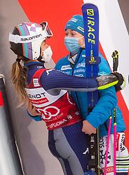 Winner Marta Bassino (ITA) and third placed Meta Hrovat (SLO) during 2nd Run of Ladies' Giant Slalom at 57th Golden Fox event at Audi FIS Ski World Cup 2020/21, on January 17, 2021 in Podkoren, Kranjska Gora, Slovenia. Photo by Vid Ponikvar / Sportida