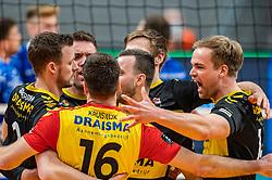 Freek de Weijer of Dynamo, Wessel Blom of Dynamo, Jeroen Rauwerink of Dynamo celebrate during the second final league match between Amysoft Lycurgus vs. Draisma Dynamo on April 24, 2021 in Groningen.