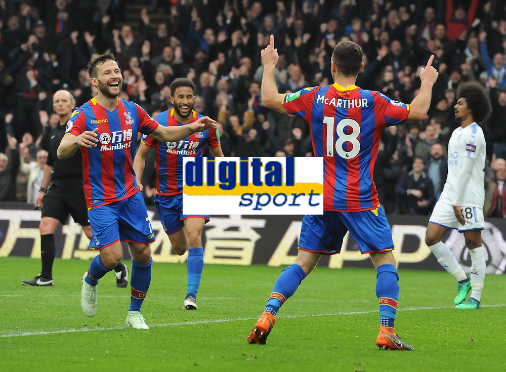 Football - 2017 / 2018 Premier League - Crystal Palace vs. Leicester City<br /> <br /> James McArthur of Palace celebrates scoring goal no 2 with Yohan Cabaye, at Selhurst Park.<br /> <br /> COLORSPORT/ANDREW COWIE