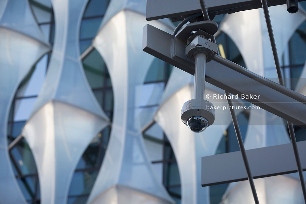 CCTV cameras keep watch over the US Embassy at Nine Elms in south London, on 16th January 2018, in London, England. On the day when the consulate opened for public business (visa applications etc.), after its controversial move from Grosvenor Square in central London to the south bank.