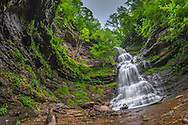 The iconic Cathedral Falls in Gauley Bridge West Virginia comes to life with Spring greens and fresh rains viewed from the perspective of a fisheye lens to accentuate the curvature of the rock walls that hold the waterfall