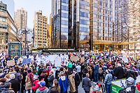 NEW YORK CITY- MARCH 24, 2018 : New yorker on a demonstration protest march for gun control in front of the Trump hotel