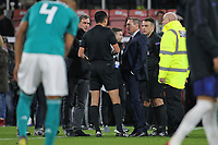 Football - 2018 / 2019 Under-21 International Friendly - England U21 vs. Germany U21<br /> <br /> England U21 Head Coach Aidy Boothroyd questions Referee Marco Di Bello after the final whistle over Germanys winning goal at The Vitality Stadium (Dean Court) Bournemouth England <br /> <br /> COLORSPORT/SHAUN BOGGUST