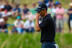 May 19, 2019 - Farmingdale, NY, U.S. - FARMINGDALE, NY - MAY 19: Adam Scott of Australia reacts after missing a putt on the sixth green during Round 4 of the PGA Championship Tournament on May 19, 2019, at Bethpage State Park in Farmingdale, NY (Photo by John Jones/Icon Sportswire) (Credit Image: © John Jones/Icon SMI via ZUMA Press)