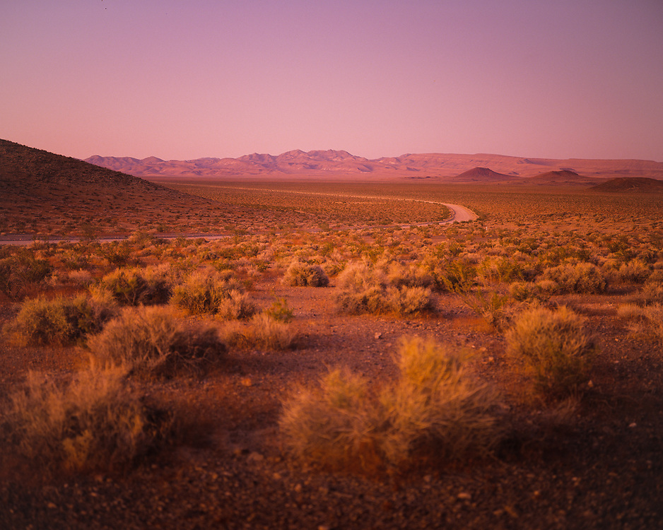 A distant view of Yucca Mountain, proposed site for long term storage for spent nuclear fuel and other high-level radioactive waste, adjacent to the Nevada Test Site, in Nevada