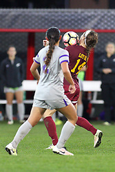 04 November 2016:  Jenna Szczesny(14) during an NCAA Missouri Valley Conference (MVC) Championship series women's semi-final soccer game between the Loyola Ramblers and the Evansville Purple Aces on Adelaide Street Field in Normal IL