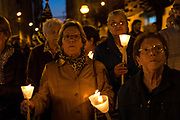 Penitents carrying candles. Procession of the<br /> coronation of thorns during Passion Saturday, in the city of Mataró (Barcelona), Spain. Easter 2017. Eva Parey/4SEE.