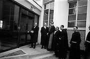 8/3/1965<br /> 3/8/1965<br /> 8 March 1965<br /> <br /> Dr. P.J. Hillery opening An Teanglann at Gormanstown College in the presence (from Left) Éamon de Valera, Cardinal Conway, His Lordship Dr. Kyne, Bishop Ceallach O'Briain