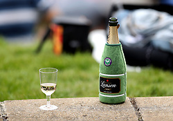 A Wimbledon themed bottle of Lanson champagne on day two of the Wimbledon Championships at The All England Lawn Tennis and Croquet Club, Wimbledon.